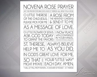 Novena Rose Prayer St. Therese Little Flower - Inspiration Poster Print - 8x10, 11x14, 16x20, 20x24, 24x30