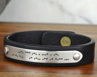 """Christmas Gifts for Him, Custom Morse Code Bracelet, Morse Code Jewelry - 1/2"""" Wide Womens or Mens Leather Id Bracelet, Hand Crafted in USA"""