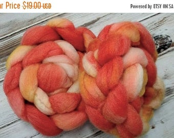 CLEARANCE Chaotic Sunrise 4oz BFL Wool Blue Faced Leicester Spinning Fiber Combed Top Roving Orange Yellow