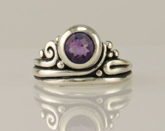 R1129- Sterling Silver Amethyst Ring- One of a Kind