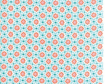 Kate Spain Voyage Fabric by the Yard, Porto in Turquoise Blue, Moda Fabrics, 27287-11