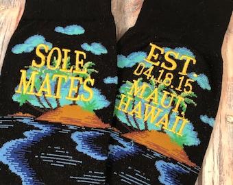Grooms Socks - Destination Wedding - Beach Wedding - Tropical Wedding - Second Anniversary Gift Socks - Hawaii Wedding - Mens Socks