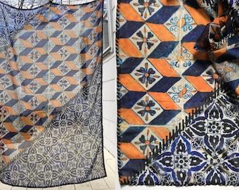 Scarf, Chiffon, Large Wrap, Shawl || Tile Designs || Indigo Blue, Orange Pattern || Cool, Fun, Graphic, Chiffon, Lightweight, Airy, Floaty