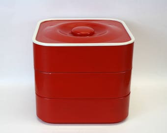 Vintage Nils Johan Red Square Stackable Kitchen Canisters, Set of 3 (E8508)