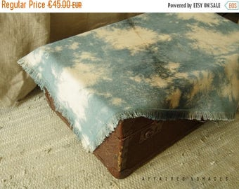 ON SALE Boho fringe multiple use throw hand dyed. Throw for couch. Place mat. linen table mat. Wall hanging art. light blue pale blue