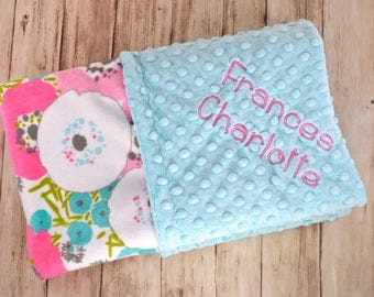 Minky Baby Blanket, Monogrammed Personalized Floral Blossoms, Aqua Blue, Charcoal Gray, Pink, Teal,  Flower Blanket with Name, Newborn Gift