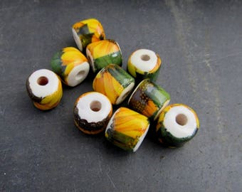 10 Small Bright Sunflower Yellow Floral Glazed Tube Clay Beads