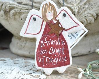 Friendship Gift Ornament Salt Dough Angel / Friend Gift Idea