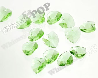8 -  Green Heart Multi-Faceted Glass Crystal Beads, Glass Heart Beads, 14mm (4-2J)
