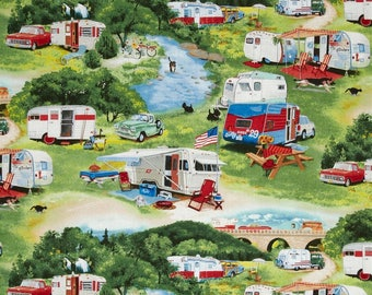 """RIVER SIDE Camping Valance or Panel Cotton TRAILER Campers  Print 12"""" 14"""" 18"""" 24' 32"""" Lined or Unlined"""