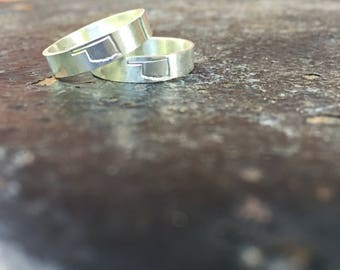 Sterling Silver Hand Stamped Oklahoma State Outline Stacker Band