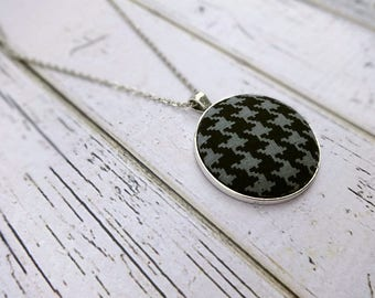 Fabric Pendant Necklace, Fabric Necklace, Pendant Necklace, Fabric Jewelry, Boho Necklace, Large Pendant, Black and Gray Hounds Tooth