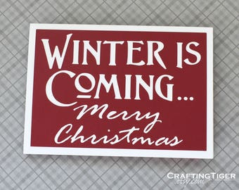 Winter is coming Merry Christmas- Dark Red card with White letting - Game of Thrones Inspired Christmas Card - Blank Inside