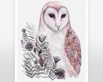 Barn owl art print, watercolor owl print, birds art print, owl home decor, woodland art, nature art, nursery animal art,