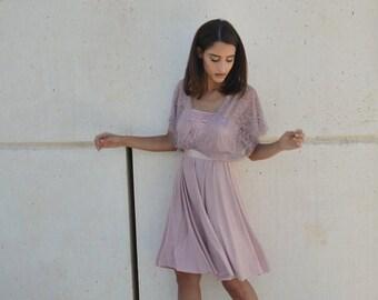 Blush evening knee length dress, lace sleeves top ,full circle skirt