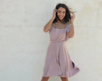 Light pink bridesmaid dress ,full circle knee length bridesmaid dress