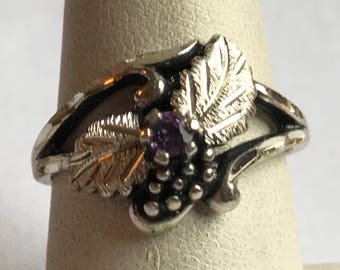 Sterling Silver Amethyst Ring With Black Hills Leaf And Berry Design-Size 7 3/4