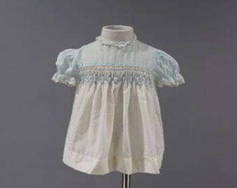 Vintage Baby Girls Dress Size 6 12 Months Blue White Smocked Short Sleeve