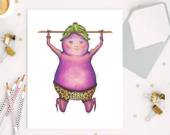 Exercising EGGPLANT - ART PRINT - illustration, get in shape, encouragement, miss you, home decor, kitchen art, nursery, you can do it