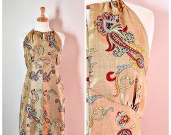 ON SALE 70s Golden Silk Halter Dress