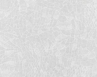 Gleaned Parakeet in White, Carolyn Friedlander, Robert Kaufman Fabrics, 100% Cotton Fabric, AFR-17292-1 WHITE