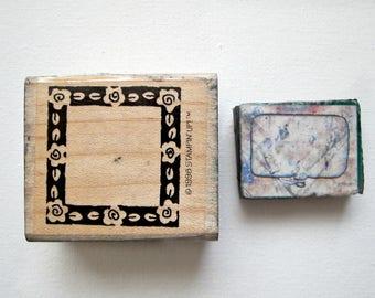 DESTASH- 2pcs BORDER n' WORD Bubble Wood Rubber Stamps, Pre-used