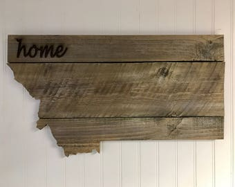 "Montana State Shape Rustic Wood Sign Hanger 20"" x 11 1/4""  Laser Engraving Options - Wedding, Valentine's Day, Birthday, Anniversary"