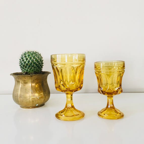 Vintage Amber Glasses Set of (2) Various Sized Goblets  (1) Large (1) Small Mid Century Modern Stemware Amber Tumblers