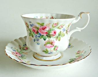 Tea Cup and Saucer Teacup and Saucer Vintage Royal Albert Moss Ross Floral Bone China England