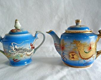Vintage Dragonware Small Teapot Sugar Bowl Tea Pot 1960's
