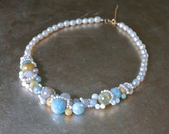 Aquamarine bridal necklace - Asymmetrical beaded necklace
