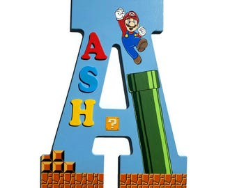 Mario Name Sign, Door hanger, Doornament, Wooden Letters, Nursery Letters, Hanging Letter