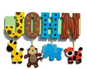 Safari Name Sign Personalized with your Child's Name!  name plaque, zoo animals, jungle letters, personalized, any name, animal print