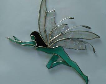 Fairy Suncatcher, Stained Glass Fairy, Art & Collectibles, Glass Art, Iridescent Wings, Handmade Glass Faerie, Decorative Gift, Window Decor