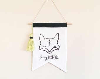 NEW! Sleepy fox wall hanging - wall flag - kids pennant flag - Adventure theme - Canvas wall hanging - black and white - kids rooms