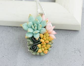 Green Pink Succulent Necklace Pendant Wholesale Metal Basis Medallion Pendant Jewelry Succulent Wedding Bridal Birthday Accessory Gifts