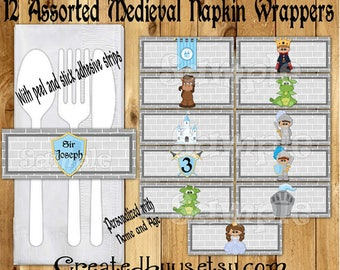 Knights and Dragons Napkin wraps Baby boy shower Decorations Medieval napkin bands Paper napkin ring holder Dragon utensil wraps 12 printed