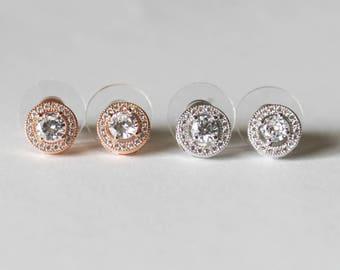 Bridesmaids earrings, 8mm Cubic Zirconia earring studs, Hypoallergenic, Bridesmaids gift, Gold bridal earrings, Rose gold earrings, CZ studs