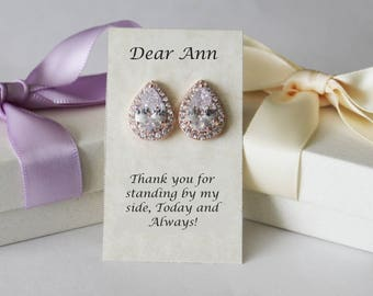 Bridesmaids earrings, Rose gold Tear drop CZ stud earrings, Bridesmaids gifts, Round Cubic Zirconia studs,Gold bridal earring, Pear CZ studs