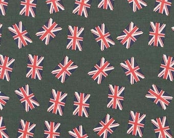 ON SALE 70% OFF Union Jack Fabric - Uk Flag - Green Fabric - Red Fabric - Navy Fabric - Cotton Fabric - Punk Rock - Rockabilly Fabric - Remn
