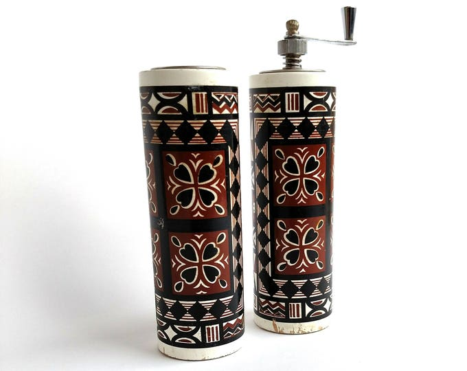 Vintage 1970's Decorative Folksy Wooden Salt and Pepper Shakers