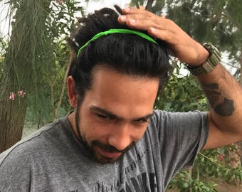 Green men headband, headband for him, dreadlock headband, man headband, hair accessory for him, beach headband, husband, boyfriend gift