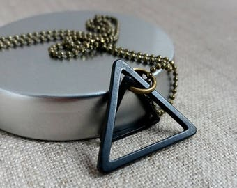Black Double Triangle Necklace. Unisex Necklace. Geometric. Two triangles. Black Triangle. Modern Jewelry. Men's Necklace. Geo Necklace