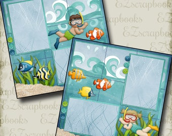UNDERWATER - 2 Premade Scrapbook Pages - EZ Layout 320