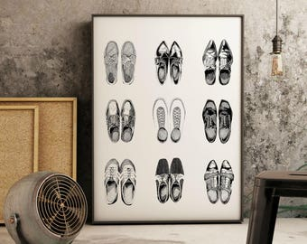 "Retro Vintage Shoes Print |  14"" x 18"" Illustration 