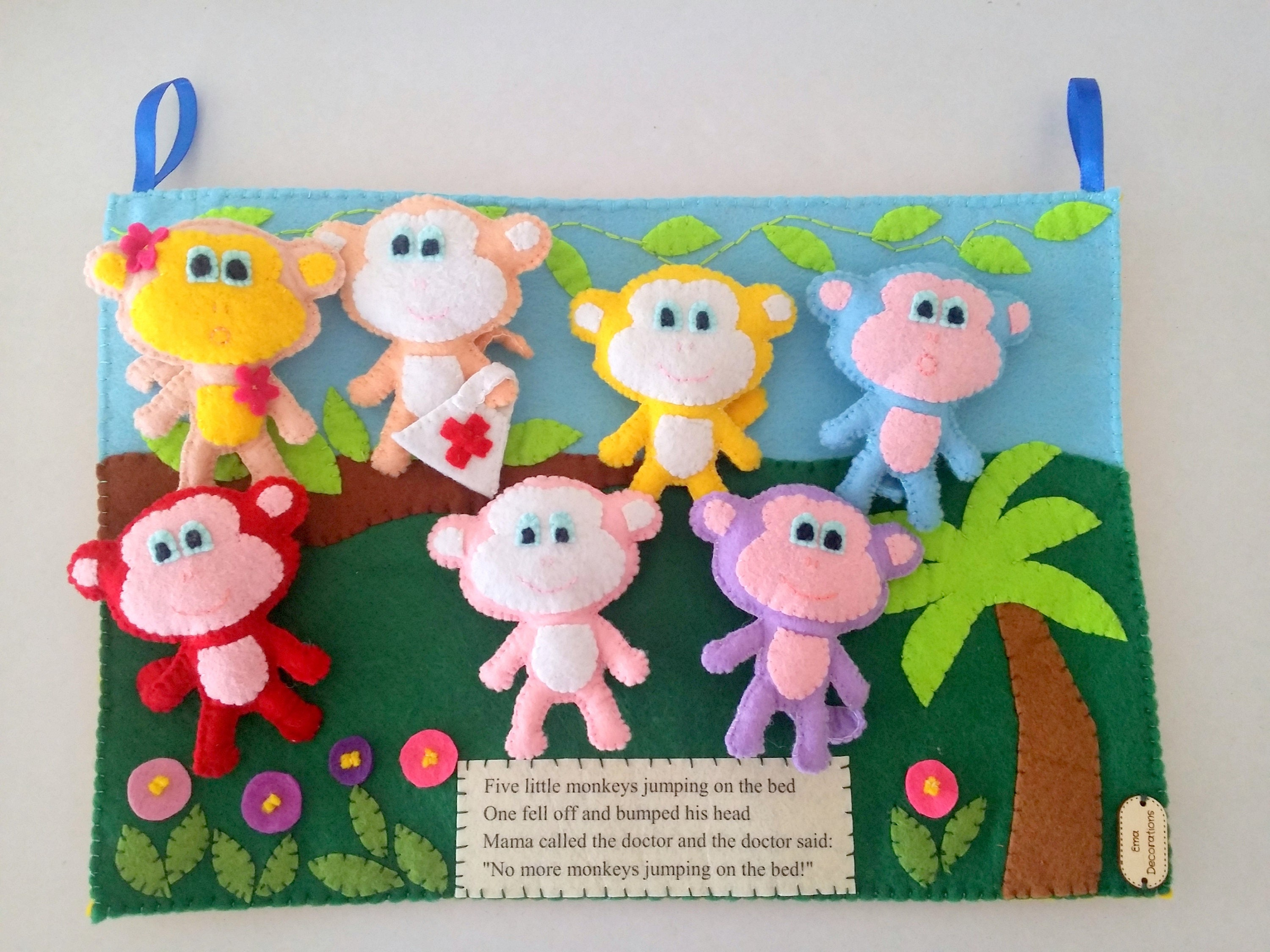 Monkey felt board quiet book interactive book stuffed zoom amipublicfo Image collections