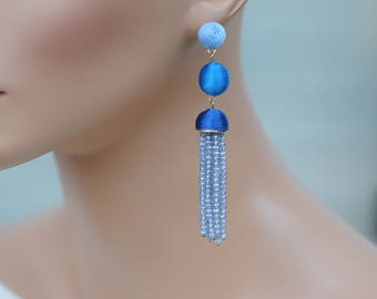 Dangle Earrings, Stacked cotton drop Earrings, Blue Ball Earrings, Crystal dangle earrings, Gift for her, Everyday use, Valentines gift