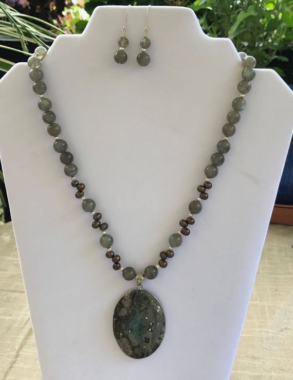 Natural Labradorite, Moss Agate, and Pearl Stone Necklace