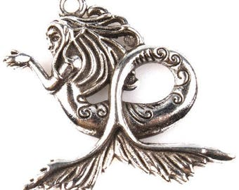 5 pieces Large Silver Mermaid Charm, Mermaid Pendant, Mermaid Necklace