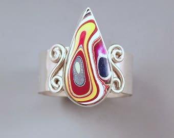 Fordite- Detroit Agate- Brilliant Colors- Michigan Made- Hammered Sterling Silver Statement Ring- Adjustable Size- Fordite Ring
